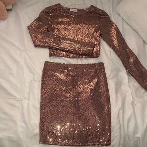 Rose gold sequence matching top and skirt